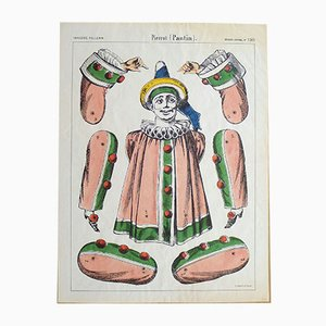 Antique Art Nouveau French Pantin Pierrot Print from Epinal