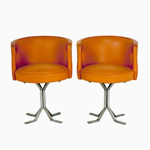 Mid-Century Orange Leather Chairs by Jordi Vilanova, 1970s, Set of 2