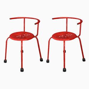 Sedie da giardino Mid-Century in alluminio rosso, anni '60, set di 2