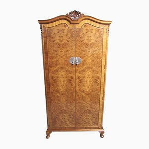 Queen Anne Style Burr Walnut 2-Door Wardrobe, 1920s