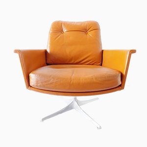 German Leather Swivel Lounge Chair by Horst Brüning for Cor, 1960s