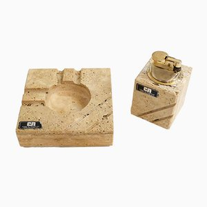 Italian Travertine Ashtray & Lighter by by Cerri Nestore, 1960s