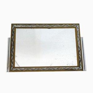 Vintage Art Deco Silver Wood Frieze Frame Mirror
