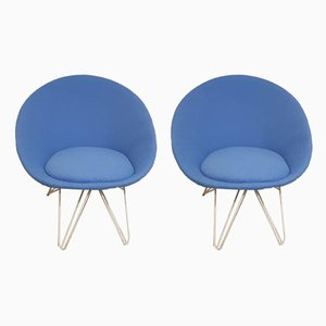 Italian Blue Felt Lounge Chairs, 1950s, Set of 2