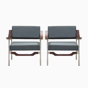Mid-Century Italian Modern Rosewood Armchairs, Set of 2