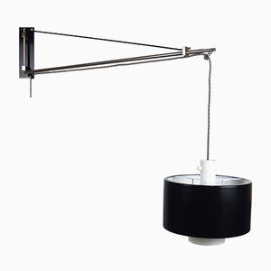 Italian Black Aluminum & Brass 2061 Wall Lamp by Gaetano Scolari for Stilnovo, 1950s