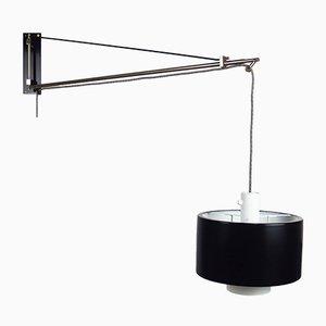 Italienische 2061 Wandlampe aus schwarzem Aluminium & Messing von Gaetano Scolari für Stilnovo, 1950er