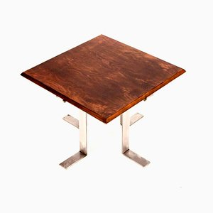 Square Mid-Century Walnut & Nickel Side Table by Jordi Vilanova