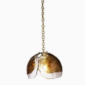 Deutsche bernsteinfarbene Deckenlampe aus Muranoglas von Kaiser, 1960er