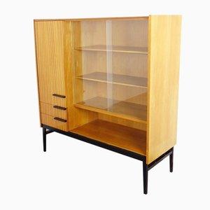Mueble Mid-Century de vidrio y madera, años 60