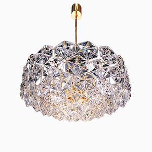Large German Crystal and Gold Plated Chandelier from Kinkeldey, 1960s