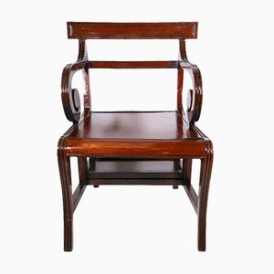 Antique English Regency Mahogany Library Step Chair from Morgan and Sanders, 1810s
