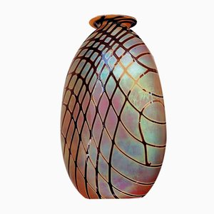 Oval Vintage Iridescent Art Glass Vase by Craig Zweifel, 2003