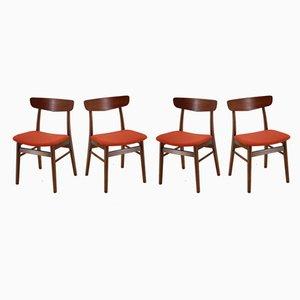 Dänische Esszimmerstühle aus Buche und Teak, 1960er, 4er Set