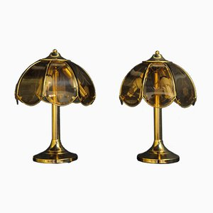 Tischlampen aus Glas und Metall von Eglo Leuchten, 1970er, 2er Set
