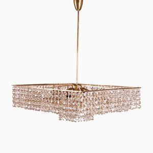 Mid-Century Square Cut Crystal Chandelier, 1950s