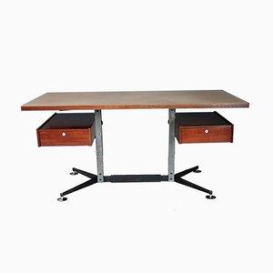 Mid-Century Italian Mahogany and Formica Desk, 1960s