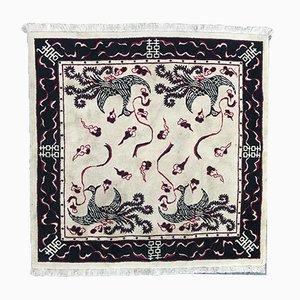 Square Vintage Vietnames Cotton and Wool Carpet, 1980s