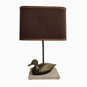 Vintage French Brass and Travertine Duck Table Lamp, 1970s