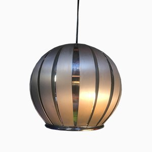 German Chrome Plating and Galvanized Metal Ceiling Lamp by Max Sauze, 1970s