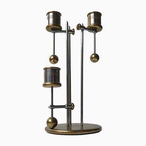 Dänischer nautischer Vintage Kerzenständer aus Messing & Stahl mit Gegengewicht