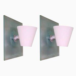 Moderne italienische Quadro Parete Wandlampen aus Chrom & Muranoglas von Giovanni Levanti für Foscarini, 1990er, 2er Set