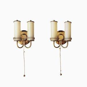 Finnische Wandlampen aus Messing und Glas, 1940er, 2er Set