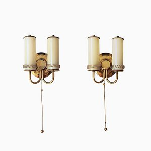 Finnish Brass and Glass Sconces by Paavo Tynell, 1940s, Set of 2