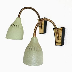 Italian Brass Sconces, 1950s, Set of 2