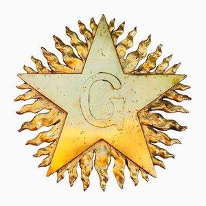 Feuervergoldete Freimaurer Wandtafel aus Muranoglas, 19. Jh.