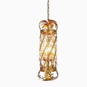 Antique Rococo Style French Crystal and Golden Metal Pendant Lamp