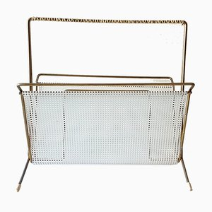 Mid-Century Brass & Perforated Metal Magazine Rack, 1950s