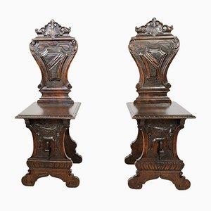 Tabourets Antiques en Noyer, Set de 2