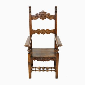 Antique Italian Walnut Throne Chair, 1800s