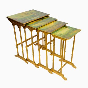 Vintage French Poplar Nesting Tables, 1920s