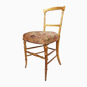 Italienischer Chiavari Beistellstuhl mit vergoldetem Holzgestell, 19. Jh.