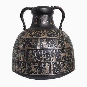 Ägyptische Vase aus patiniertem Kupfer & Silber