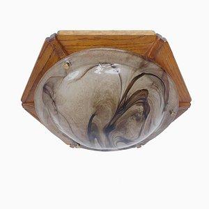 Lampada ad incasso grande in vetro di Murano ambrato di Kaiser Leuchten, Germania, anni '60