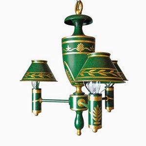 Lámpara de araña Directoire francesa antigua de madera y mármol pintada