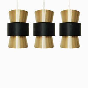 Mid-Century Danish Metal Pendant Lamps, 1960s, Set of 3