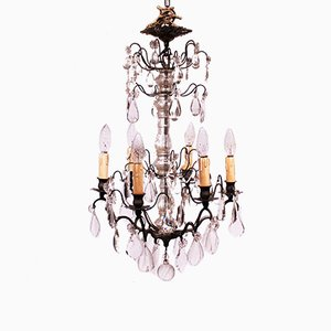 Vintage French Brass & Glass Prism Chandelier, 1920s