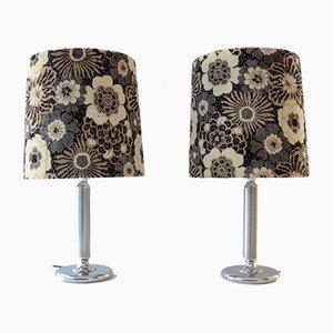 Große versilberte Vintage Tischlampen, 1970er, 2er Set