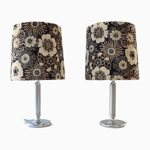 Large Vintage Silver Plated Table Lamps, 1970s, Set of 2
