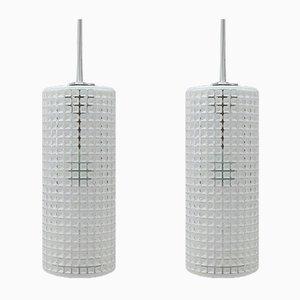 Deutsche Chrom & Glas Deckenlampen von Limburg, 1960er, 2er Set