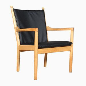 Danish Beech and Cow Leather Model 1788 Armchair by Hans J. Wegner for Fritz Hansen, 1960s