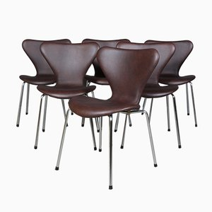 Danish Aniline Leather and Tubular Steel Model Syveren 3107 Dining Chair by Arne Jacobsen for Fritz Hansen, 1960s