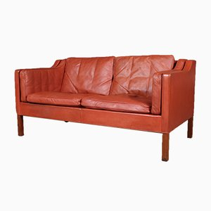 Danish Leather and Teak Model 2212 2-Seater Sofa by Børge Mogensen for Fredericia, 1970s