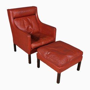 Vintage Set mit Sessel & Fußhocker von Borge & Peter Mogensen