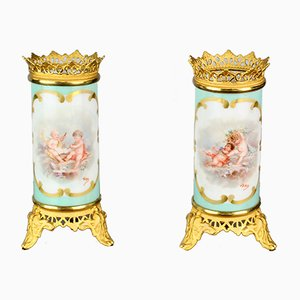 Small Vintage French Porcelain & Bronze Vases, Set of 2