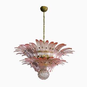 Italienischer Vintage Kronleuchter aus rosafarbenem Glas von Mazzega, 1978